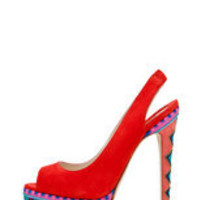 Brian Atwood | Aliyza Open Toe Pump Red