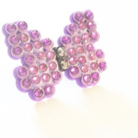 Sparkly Butterfly In Purples Blingy Rhinestone Crystal Ring
