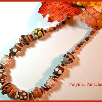Chunky Bead Necklace Browns & Pumpkin Polymer Clay Handcrafted 3 Dimensional Light Weight