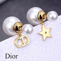 DIOR Women Pearl CD Letter Star Earrings Jewelry Accessories