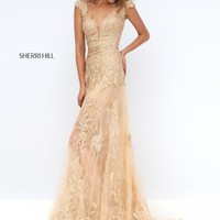 Sherri Hill 50176 Sheer Lace Prom Gown