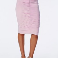 RUCHED SLINKY MIDI SKIRT LILAC