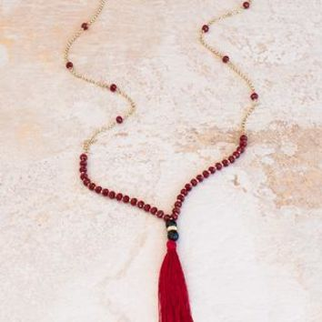 Wild Flower Garnet Tassel Necklace