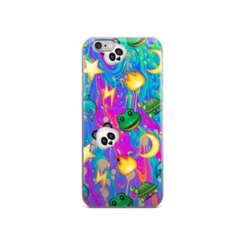 Fire Flame Panda Frog Star Moon Turtle Dolphin & Lightning Bolt Emoji Collage Cool Cute Trippy Girly Girls Tie Dye Purple Pink Blue & Green iPhone 4 4s 5 5s 5C 6 6s 6 Plus 6s Plus 7 & 7 Plus Case