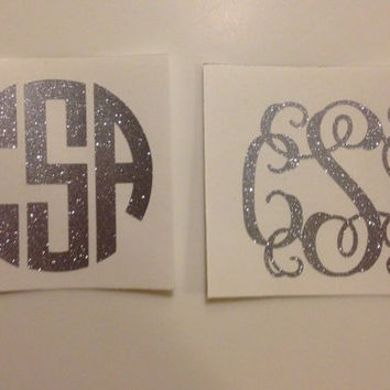 "2"" Inch Personalized Glitter Vinyl Monogram Decal (Perfect for iPhone)"