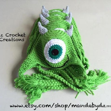 Crochet Mike Inspired Monster Inc. Beanie- Photo Prop - Hat - Character Beanie - Crochet Beanie - Crochet Mike Monster - Halloween