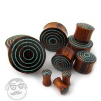 Target Turquoise Stone Inlay Wooden Plugs (6 Gauge - 1 Inch) | UrbanBodyJewelry.com