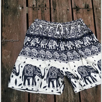 White Unisex Men & Women Summer Shorts Elephant Print Boho Beach Hippie Hipster Clothing Aztec Ethnic Bohemian Ikat Boxers Sleepwear Baggy