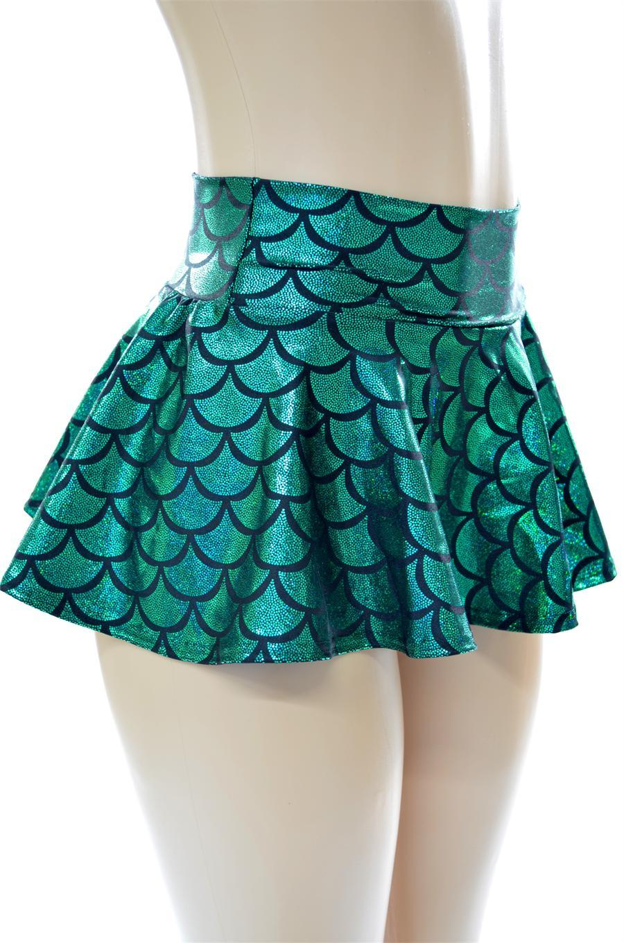 Emerald Green Mermaid Mini Rave Skirt From Coquetry Clothing