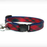 "Cat Collar - ""Interstate Love Song"" - Plaid w/ Red, Hunter Green & Blue on Navy"