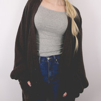 Vintage Brown Knit Cardigan Sweater