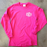 Heat Pressed Monogrammed Long Sleeve TShirt by TheSassyLetter
