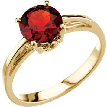 14k Yellow Gold Round Mozambique Garnet Scroll Set Ring