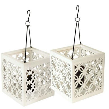 2 Candle Lanterns - White Lattice Hanging