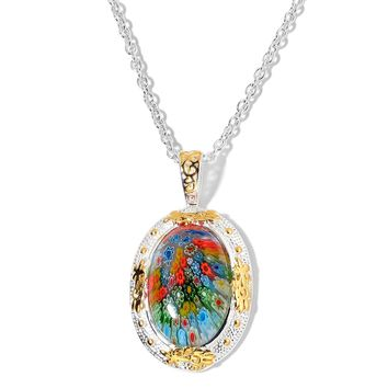 Murano Millefiori Glass Stainless Steel Pendant and Chain