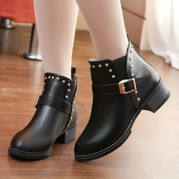 Womens Hip Studded Ankle Boots