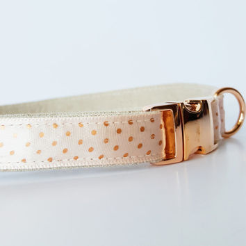 "Rose Gold Dots Dog Collar, Dog Collar Gold, Polkadot Dog Collar, Rose Gold Dog Collar--5/8"" wide"