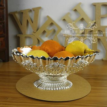 floral carved embossed alloy metal fruit bowl desk sugar storage tray decorative tray home decoration wedding decoration SG097