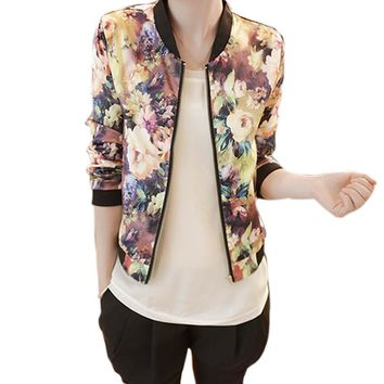 JECKSION Women Outwear New Spring Jacket Floral Printed Long Sleeve Zipper Stand Collar Bomber Cortavientos Mujer