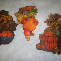 Thanksgiving Ephemera Vintage Pumpkin Die Cuts Harvest Cornucopia Autumn Party Decorations Wall Art Set of Three Cardboard Cutouts Oranges