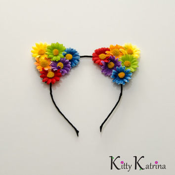 Rainbow Cat Ear Headband, Floral Cat Ears, Burning Man Clothing, Beyond Wonderland, Nocturnal Wonderland, Escape Music Festival, Ezoo, PLUR