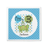 Blue Frog 3rd Birthday Paper Napkins