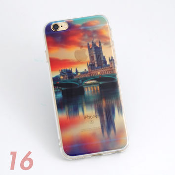Beautiful Lake & City Bridge Dawn Sunrise Scenery Print Soft TPU Transparent Phone Back Case Cover Shell For iPhone 5 5S 6 6s 6 Plus 6s Plus 7