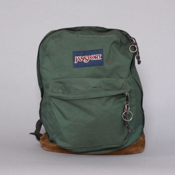 Vintage JANSPORT BACKPACK / Forest Green Canvas & Leather Base School Bag Daypack