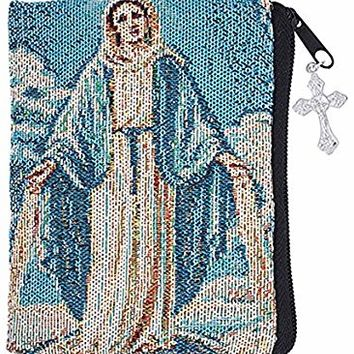 Our Lady of Grace Woven Tapestry Rosary Case with Zipper, 5 inches