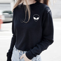 Autumn 2016 Black Women Hoodies Harajuku Alien Print Casual Sweatshirt Long Sleeve Pullover Black Hoodie Tumblr Felpe Donna