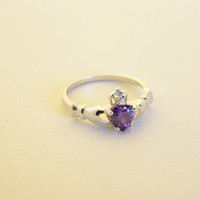 Sterling Silver 925 Claddagh Ring Purple Amethyst Cubic Zirconia CZ Promise wedding engagement forever ring