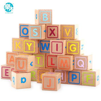 Logwood Baby Wooden Toys Wooden block 26pcs  Learning Educational toys for children Animal words letter learn gifts for Baby