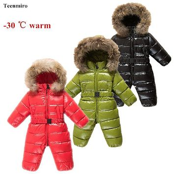 Winter Baby Rompers clothes Children Duck Down Jumpsuit Real Fur Newborn Overalls For Infants Boys Girls Jumpsuit Outerwear -25