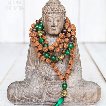 Rudraksha mala necklace with green jade stone, 108 mala beads, Hand knotted yoga mala, Meditation beads, Rosary necklace