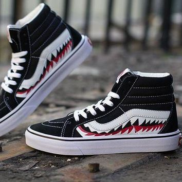 NOV9O2 BAPE x Vans Old Skool Custom SHARK MOUTHS Mid Sneakers Convas Casual Shoes SK8-HI