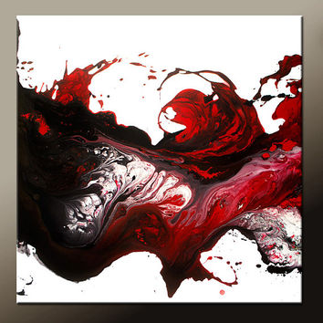 Red Abstract Canvas Art Painting Huge 36x36 Contemporary Original Wall Art Paintings by Destiny Womack -  dWo -  Redemption