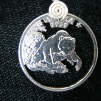 Alaska necklace, U.S. Quarter, State necklace, Hand Cut Coin
