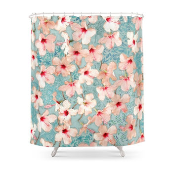Society6 Shabby Chic Hibiscus Patchwork Pattern In Peach & Mint Shower Curtains