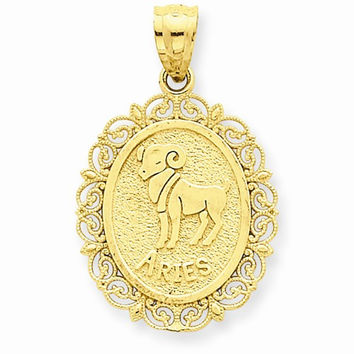 14k Yellow Gold Solid Aries Zodiac Pendant