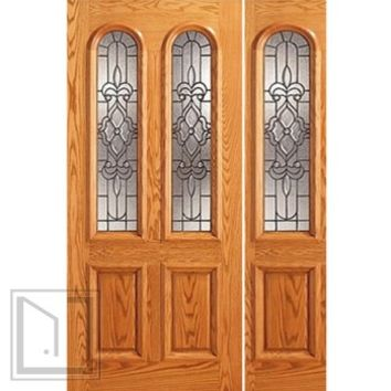 Prehung Mahogany Arch Twin Lite House One Sidelight Glass Door