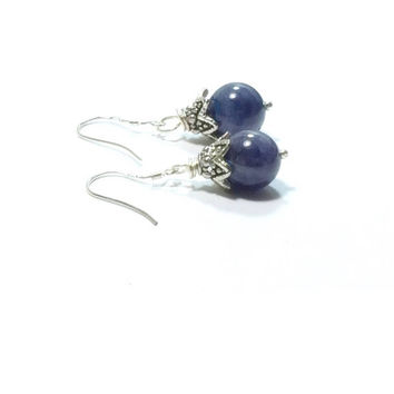 Tanzanite  Earrings , Sterling Silver Gemstone Earrings , Natural Tanzanite Gemstones , Gift For Her , Genuine Tanzanite Earrings