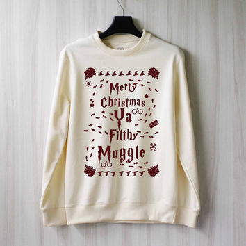 Merry Christmas Ya Filthy Muggle Harry Potter Shirt Sweatshirt Sweater Shirt – Size XS S M L XL