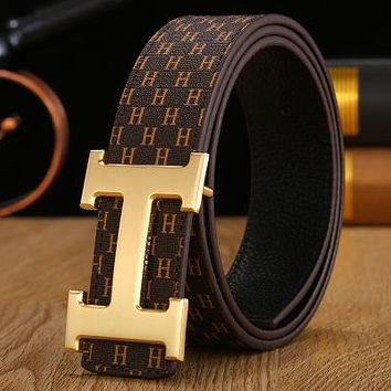 Hermes Trendy Simple Classic H Letter Buckle Smooth Buckle Belt Gold
