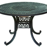 Michael Anthony Furniture Lore Walnut 48-inch Cast Aluminum Outdoor Table with Fire Pit and Ice Bucket