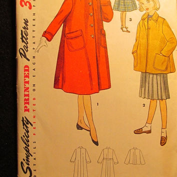 Sale 1950's Simplicity Sewing Pattern, 4418! Size 8 Girls/Kids/Child/Waist Length Coat/Full Length Coat/Round Collared/Button Up Retro Coats
