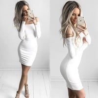 Women Sexy Dress Fashion The Word Shoulder Summer Autumn Dress Vestidos Plus Size Women Clothing White Black Dresses