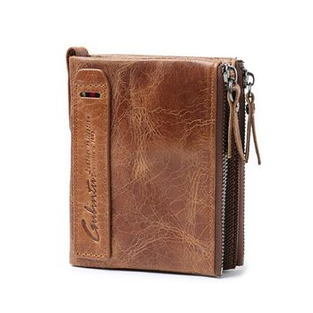 Leather Men Wallet Small Zipper Bifold Cards Holder Slim
