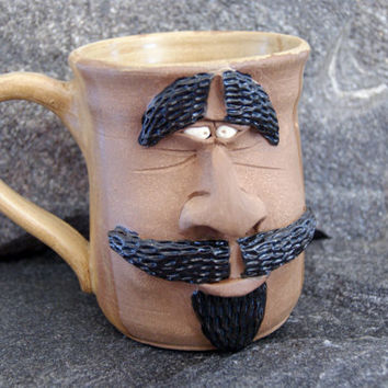 Large pottery mug, face coffee cup, brown mug