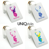 Luggage Tag - my dear deer series, colorful pattern travel bag tag, name tag, office tag, suitcase tag with straps, E32