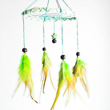 Dream Catcher - Green Star - Baby Crib Nursery Mobile with Green Star Amulet, Green Feathers and Frame - Home Decor, Decoration